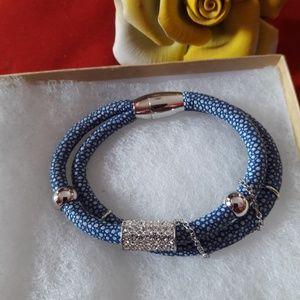 Blue leather stingray bracelet